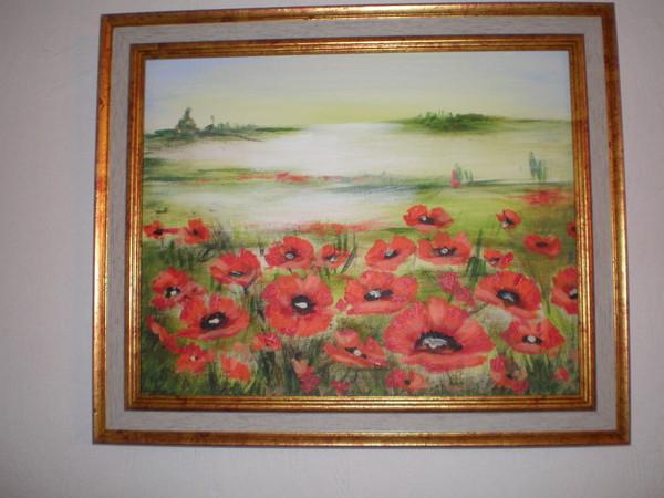 Tableau peinture acrylique paysage coquelicots for Tableau de coquelicot en peinture